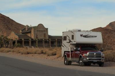 Adventurer at Rhyolite Train Depot